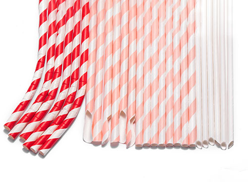 various styles of paper straws