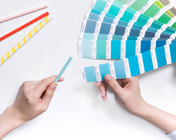 checking the colors with the pantone