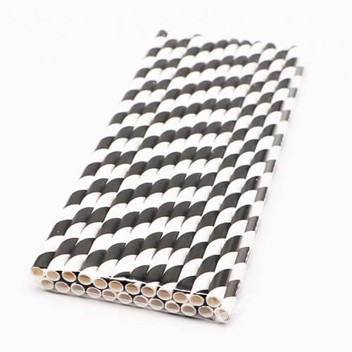 Black and White Stripped Paper Straws 1 1