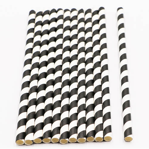 Black and White Stripped Paper Straws 2 1