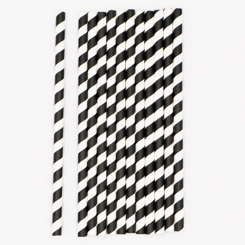 Black and White Stripped Paper Straws 3 1