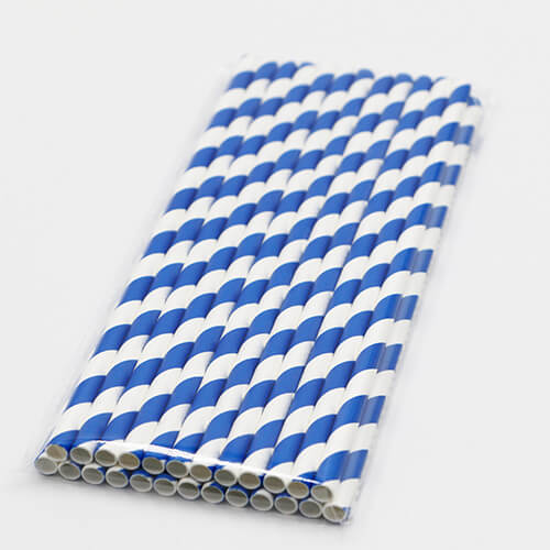 Blue and White Stripped Paper Straws 1 1
