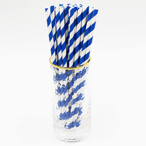 Blue and White Stripped Paper Straws 2 1
