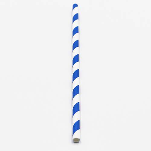 Blue and White Stripped Paper Straws 4 1