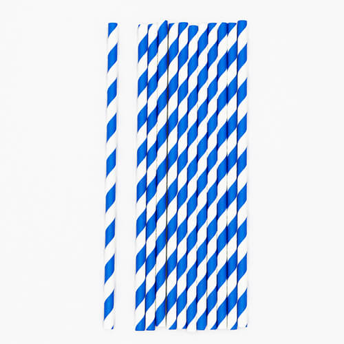 Blue and White Stripped Paper Straws 5 1