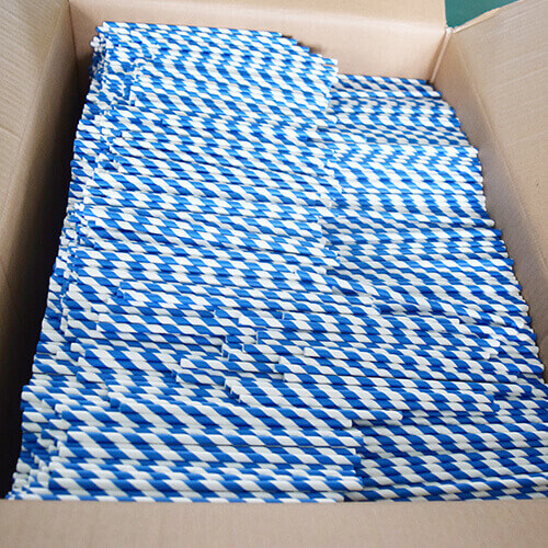 Blue and White Stripped Paper Straws 6 1