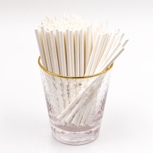 Pointed Plain White Milk Paper Straws 1