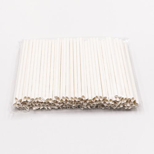 Pointed Plain White Milk Paper Straws 2