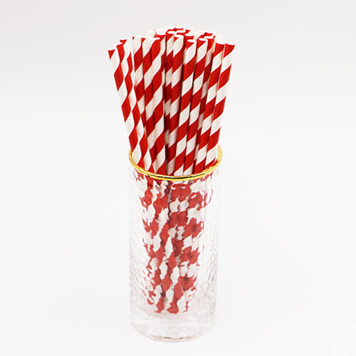 Red and White Stripped Paper Straws 2 2