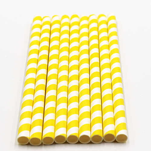Yellow Stripped Colossal Bubble Tea Paper Straws 2