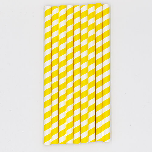 Yellow Stripped Colossal Bubble Tea Paper Straws 3