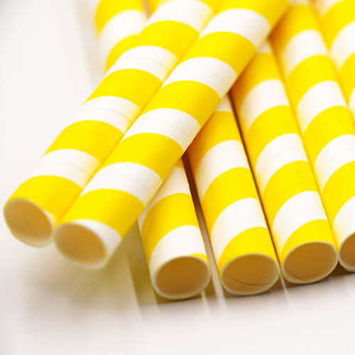 Yellow Stripped Colossal Bubble Tea Paper Straws 4 1