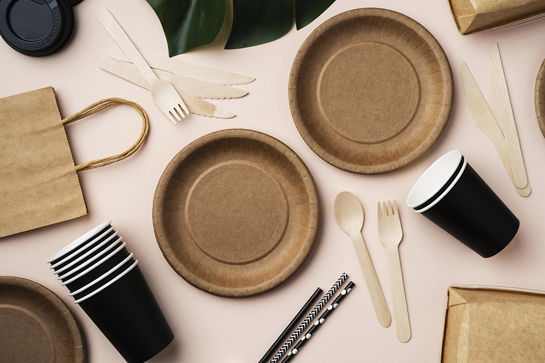 composition different eco friendly tableware1080