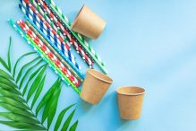 paper cups cocktail straws striped dotted mixed straws scattered flat lay useful ecology biodegradable disposable tableware1080
